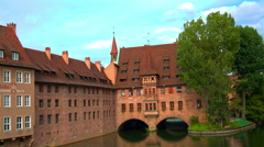 Panoramic view on the old town Nuremberg with red roofs by day. Stock Footage