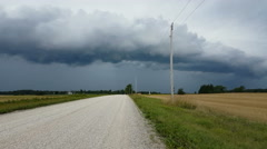 Shelf cloud on approaching severe thunderstorm Stock Footage