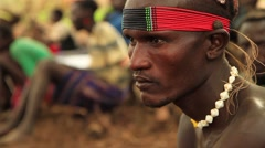 Portrait Style Profile Shot of A Tribe Member From Within The Omo Valley Stock Footage