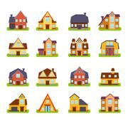 Suburban Real Estate Houses Exteriors Set Stock Illustration