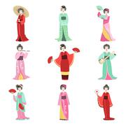 Japanese Geisha In Different Kimono Set Piirros