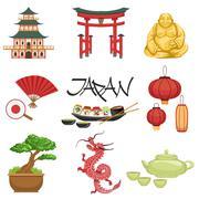 Japanese Culture Symbols Set Stock Illustration
