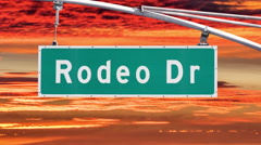 Rodeo Drive Beverly Hills Sign with Sunset Time Lapse Sky Stock Footage