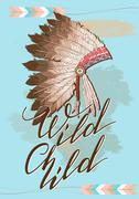 Native American indian chief headdress with Quote Wild Child.Vec Stock Illustration