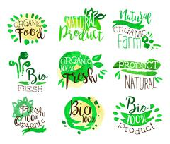 Organic Farm Food Promo Signs Colorful Set Stock Illustration