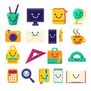Office Desk Supplies Collection Of Objects With Smily Faces Stock Illustration