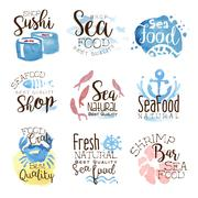 Seafood Cafe Promo Signs Colorful Set Stock Illustration