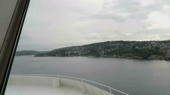 Ferry passing by the Oslo Fjord with its small islands Stock Footage