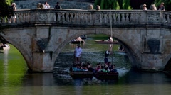 UK, England, Cambridgeshire, Cambridge, The Backs, River Cam, Punting Stock Footage