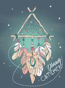 Vector Dreamcatcher Amulet. Ethnic tribal Illustration Stock Illustration