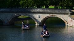 UK, England, Cambridgeshire, Cambridge, The Backs, River Cam, Punting Stock Footage
