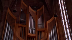 Shot of the pipe organ in the Church Stock Footage