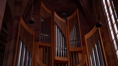 Tilt shot of the pipe organ in the Church Stock Footage