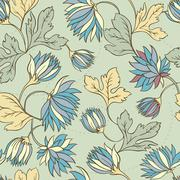 Seamless texture with flowers and butterflies. Endless floral pa Stock Illustration