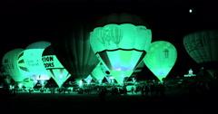 Hot air baloon glowing at night Stock Footage