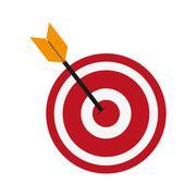 bullseye and arrow icon - stock illustration