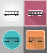 Railway carriage train flat icons vector illustration Stock Illustration