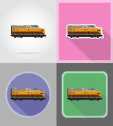 Railway locomotive train flat icons vector illustration Stock Illustration