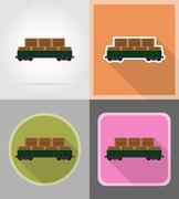 Railway carriage train flat icons vector illustration Stock Illustration