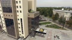 Novosibirsk, Akademgorodok, 2015: Modern university building aerial Stock Footage