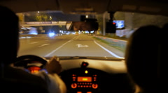 Driver making sharp turn, drunk driving at night, car accident, police pursuit Stock Footage