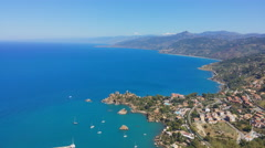 Panoramic view over Cefalu coast from Rocca di Cefalù  Stock Footage