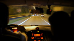 Risky night driving on highway, driver speeding, violating traffic rules, DUI Stock Footage