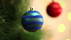 Blue and red ball on a Christmas tree. Stock Footage