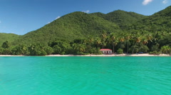 View from the water of Maho Bay, St John Stock Footage
