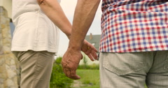 Sweet senior couple walking holding hands in the garden at sunny day Stock Footage