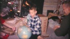 Boy Gets World Globe For Christmas-1962 Vintage 8mm film Stock Footage