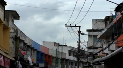 Curved Thailand street and wires Stock Footage