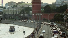 Russia. Moscow. traffic jams near the Kremlin wall. Stock Footage