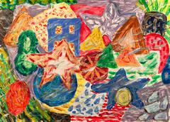 Grunge underwater world abstract painting Stock Illustration