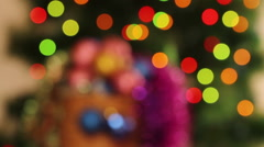 Christmas abstract background. Blurred lights Christmas tree garlands Stock Footage
