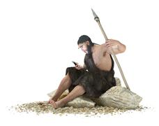 primitive man with smartphone on isolate white concept 3d illustration - stock illustration