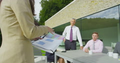 4K Business team in outdoor meeting, outside modern building in natural setting Stock Footage