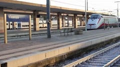 A train arrival in the station Stock Footage