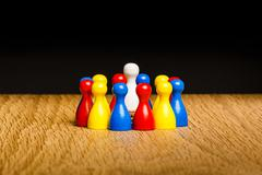 Concept leader, leadership and adoration circle pawns Stock Photos