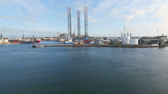 Offshore wind turbine in near of Frederikshavn harbor. Stock Footage