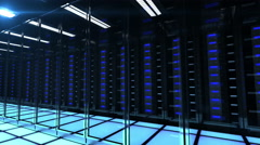 Slightly blurred reflection of the computers in the server. 4k Stock Footage