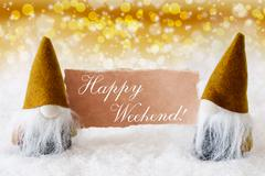 Golden Noble Gnomes With Card, Text Happy Weekend Stock Photos