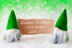 Green Natural Gnomes With Guter Rutsch 2017 Means New Year Stock Photos