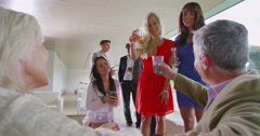 4K Smartly dressed group at drinks party raise their glasses for a toast Stock Footage