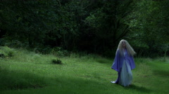 4k Fantasy Shot of a Fairy Walking and looking for Someone in the Forest Stock Footage
