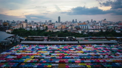 Time-Lapse with Sunsets and Clouds at Train Night Market Bangkok, Thailand Stock Footage