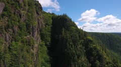 Aerial shot over cliffs and a deep gorge and a mountain forest Stock Footage