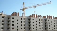 Construction of multi-storey brick complex Stock Footage
