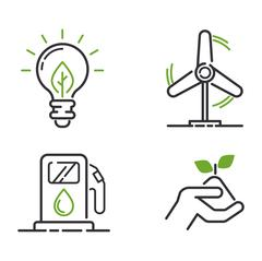 Energy icons vector set Stock Illustration