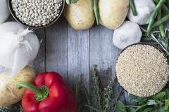 Fresh Ingredients with Copy Space Stock Photos